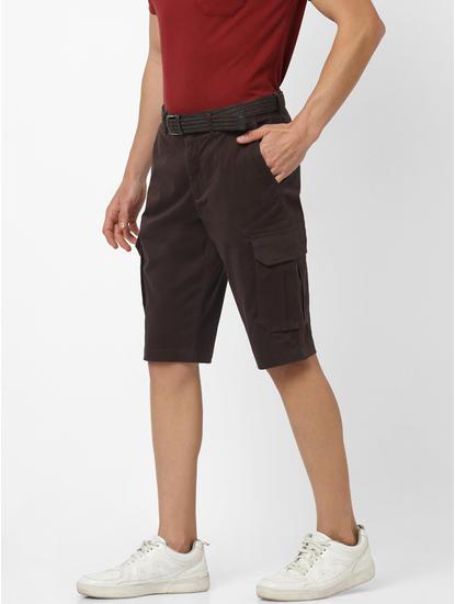Straight Fit Dark brown Cargo Shorts
