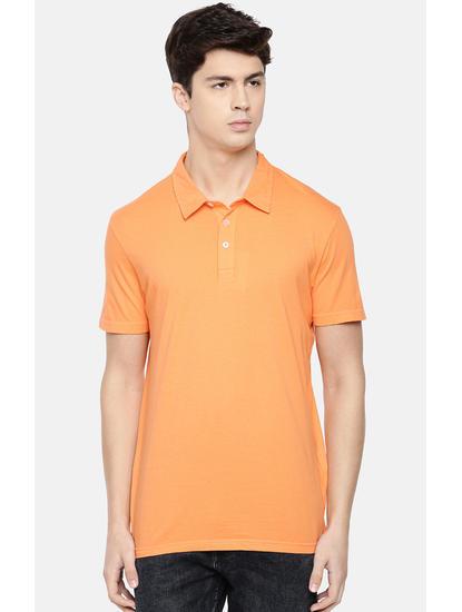 Orange Solid Polo T-Shirt