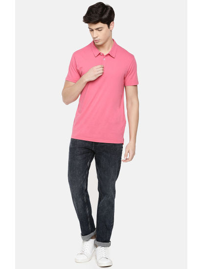 Pink Solid Polo T-Shirt