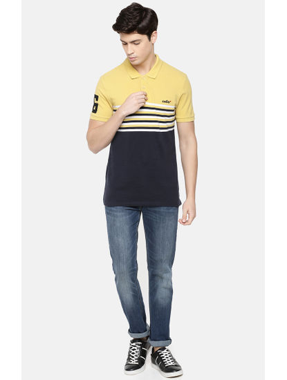 Yellow and Navy Striped Polo T-Shirt
