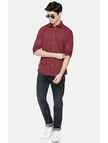 Burgundy Printed Slim Fit Casual Shirt