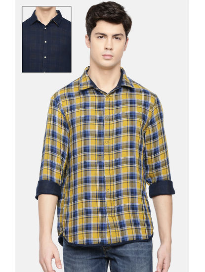 Yellow and Navy Checked Reversible Casual Shirt