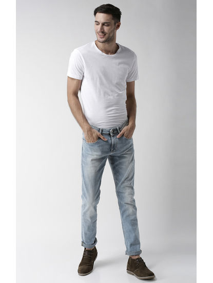 Light Blue Solid Slim Fit Tapered Jeans