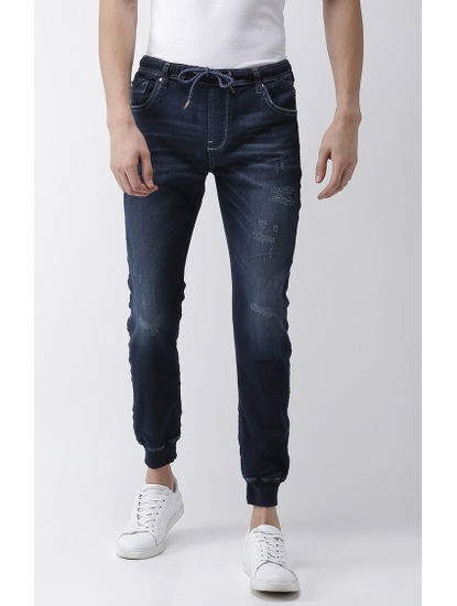 Blue Ripped Skinny Fit Joggers Jeans