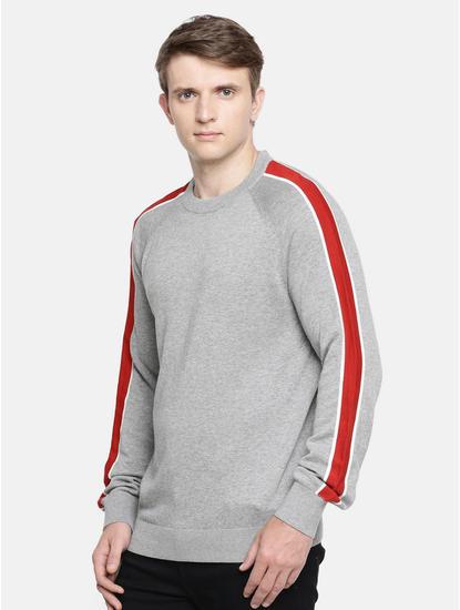 Grey Melange Straight Fit Sweater