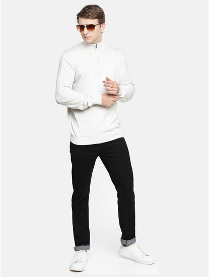 Ecru Solid Sweatshirt