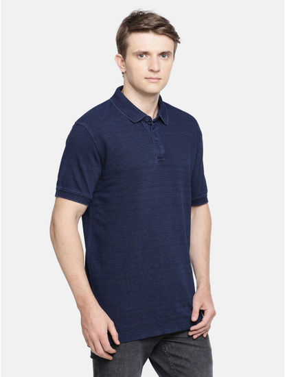 Indigo Solid Polo T-Shirt