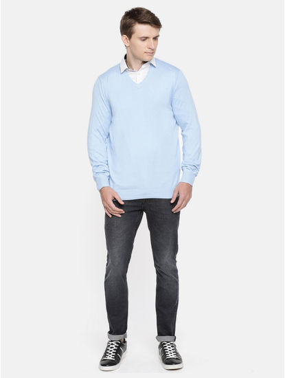 Light Blue Solid Straight Fit Sweater