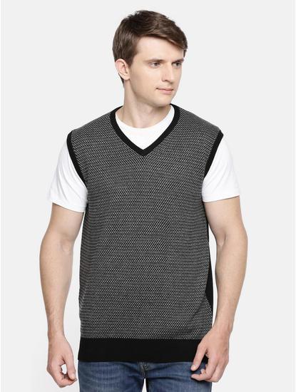 Black Melange Straight Fit Sweater