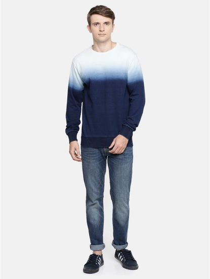 Indigo Colourblock Straight Fit Sweatshirt