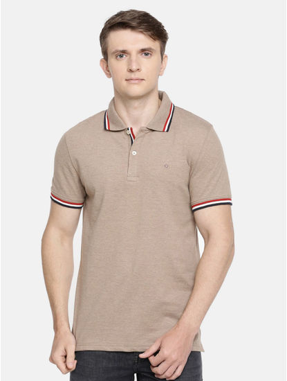 Beige Solid Polo T-Shirt