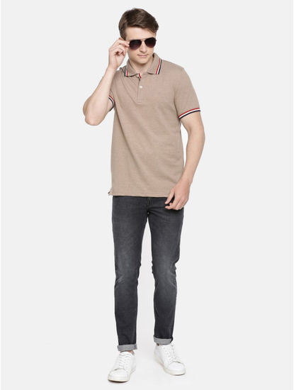 100% Cotton Beige Polo T-Shirt