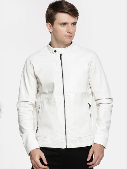 White Solid Straight Fit Bomber Jacket