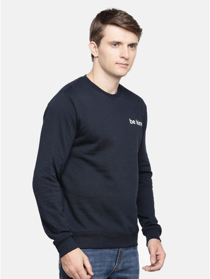 Blue Solid Straight Fit Sweatshirt