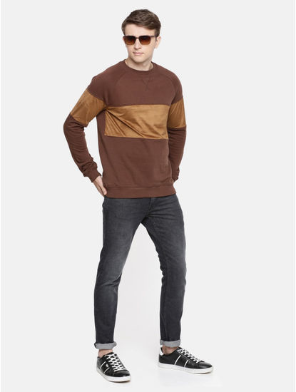 Brown Colourblock Straight Fit Sweatshirt