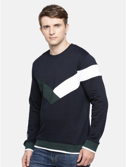 Blue Colourblock Straight Fit Sweatshirt