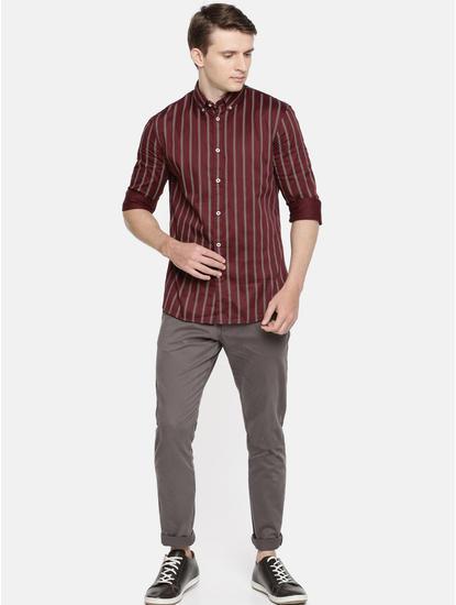 Maroon Striped Casual Shirt