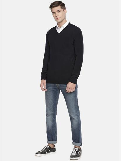 Dark Blue Solid Sweater
