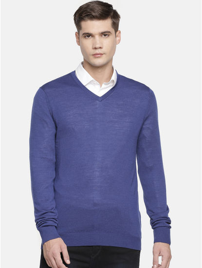 Blue Solid Sweater