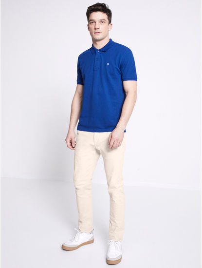 100% Cotton Blue Polo T-Shirt