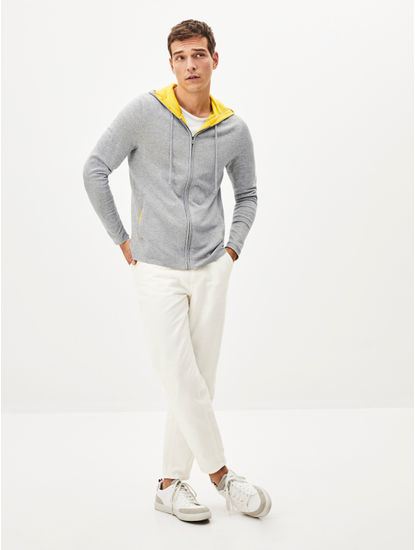 Grey Melange Straight Fit Hoodie