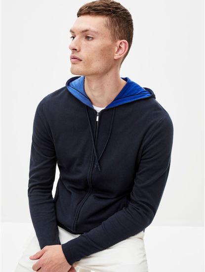 Navy Solid Straight Fit Hoodie
