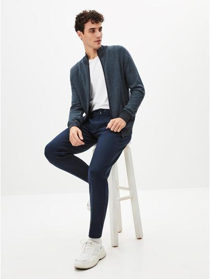 Navy Melange Straight Fit Sweater