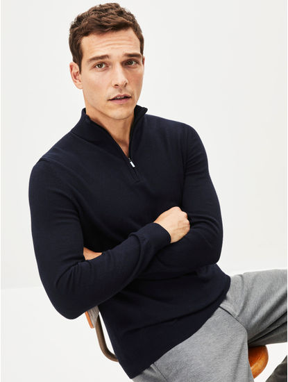 Navy Solid Straight Fit Sweater