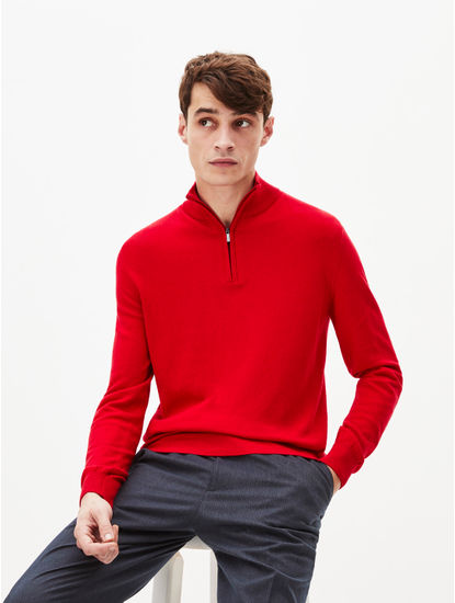 Red Solid Straight Fit Sweater