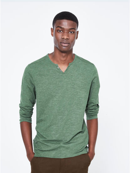 Green Melange Regular Fit T-Shirt