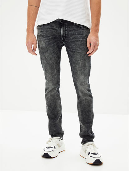 Grey Solid Water Repellent Slim Fit Denim Jeans