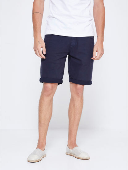 Navy Solid Shorts