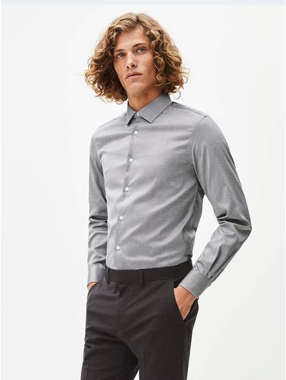 Grey Solid Formal Shirt