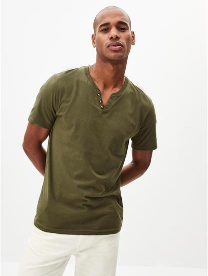 Khaki Solid T-Shirt