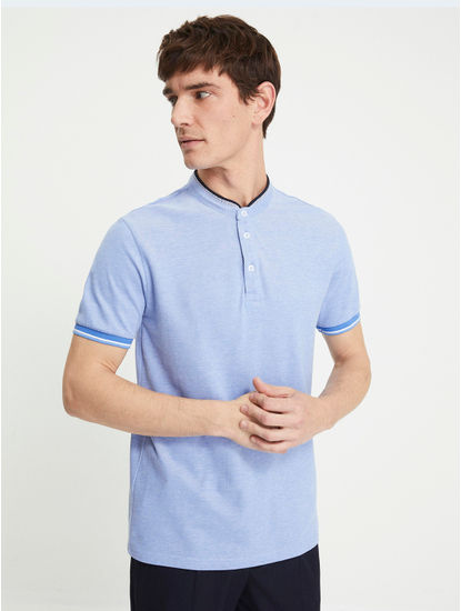 Blue Melange Polo T-Shirt