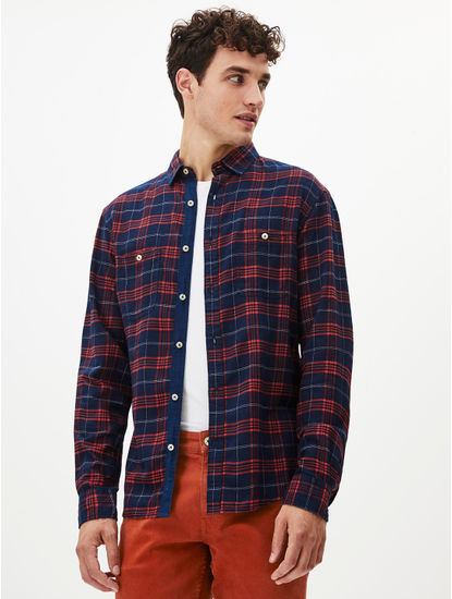 Indigo Checked Casual Shirt