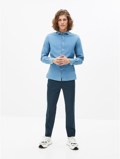 Light Blue Checked Slim Fit Casual Shirt