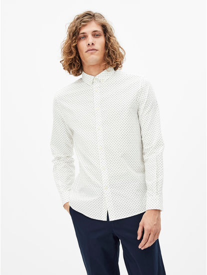 White Printed Regular Fit Casual Shirt