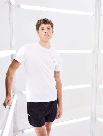 White Printed Regular Fit Athleisure T-Shirt