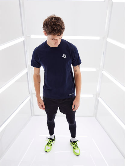 Navy Printed Regular Fit Athleisure T-Shirt