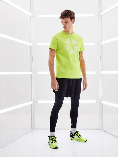 Fluorescent Green Printed Regular Fit T-Shirt
