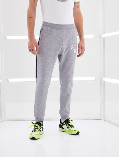 Grey Melange Regular Fit Joggers