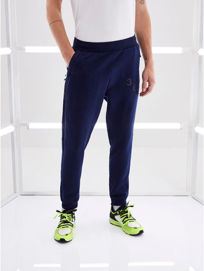 Navy Solid Regular Fit Athleisure Pants
