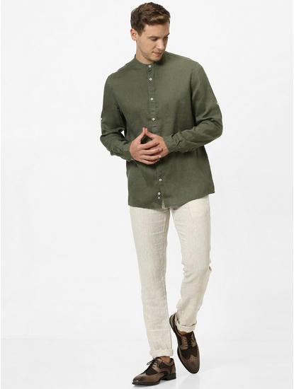 100% Linen Mao Collar Olive Shirt