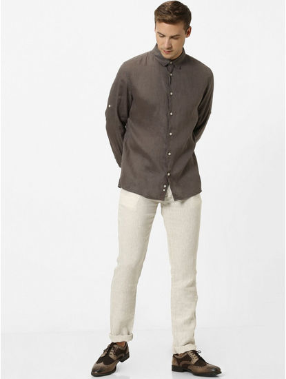 Dark Khaki Solid Regular Fit Casual Shirt