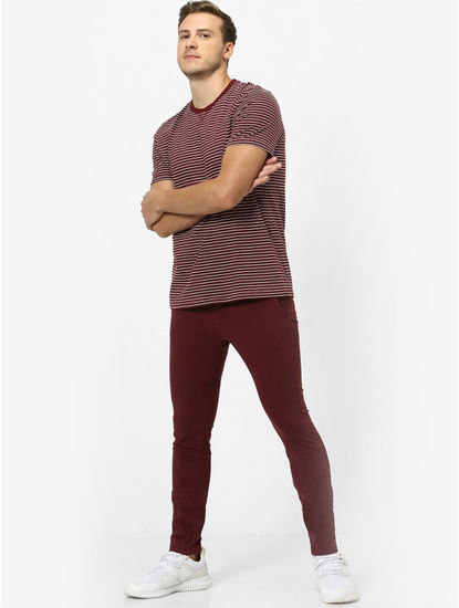 Maroon Striped Regular Fit T-Shirt