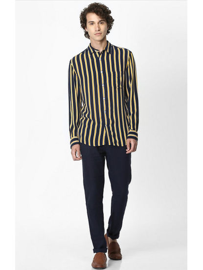 Navy Striped Soft Touch Regular Fit Casual Shirt