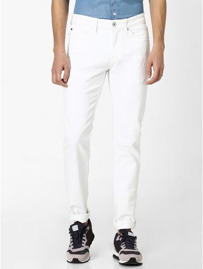 Stay Dark White Solid Slim Fit Jeans