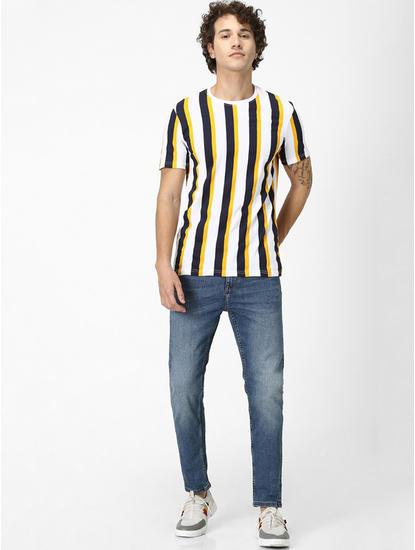 Navy Striped Regular Fit T-Shirt