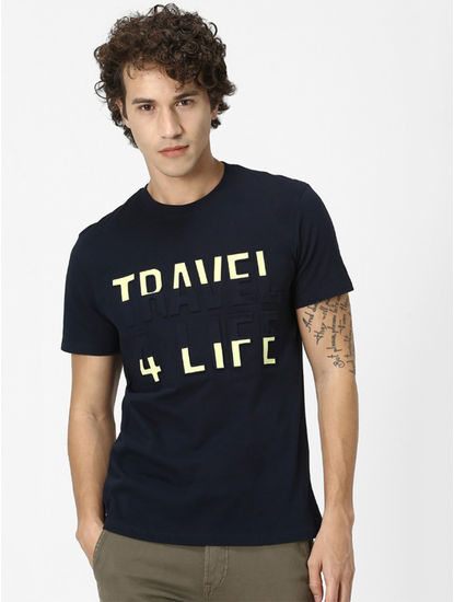 Navy Printed Regular Fit T-Shirt